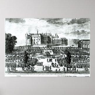 館de Chantillyおよび設計されている庭 ポスター