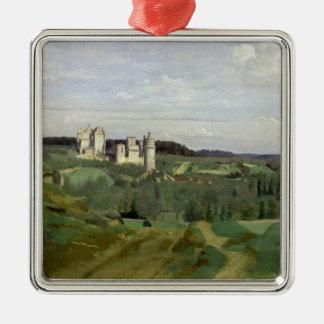 館de Pierrefonds、c.1840-45の眺め シルバーカラー正方形オーナメント