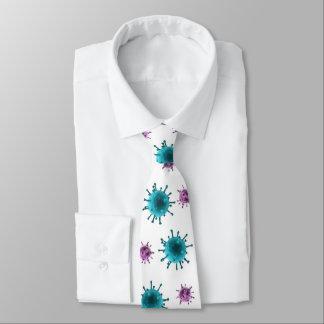 首のタイ-インフルエンザのウイルスのイメージ(白の青または紫色) オリジナルネクタイ