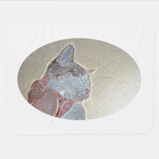 首の輝きの動物のネコ科ペットの下の猫傷 ベビー ブランケット
