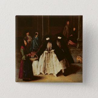香水の販売人(キャンバスの油) (alo 166068を見て下さい 5.1cm 正方形バッジ