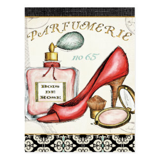 香水の赤い靴、1本、および赤面の粉 ポストカード