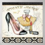 香水、赤い口紅およびハイヒールの靴 ポスター