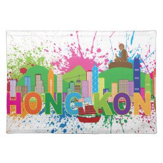 香港のスカイラインの抽象芸術色Illustratioon ランチョンマット