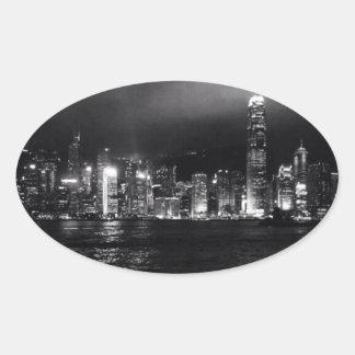香港のスカイライン 楕円形シール