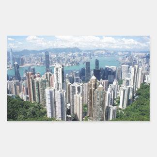 香港のピーク 長方形シール