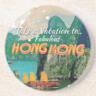 香港のヴィンテージ旅行ポスター コースター