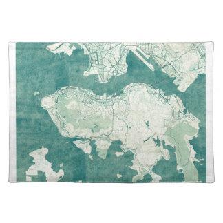 香港の地図の青いヴィンテージの水彩画 ランチョンマット
