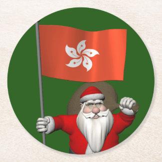 香港の旗を持つサンタクロース ラウンドペーパーコースター