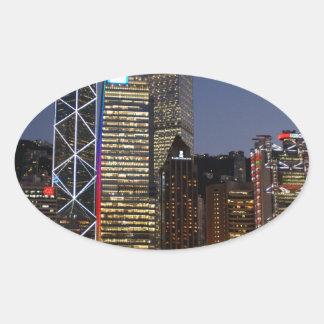 香港夜 楕円形シール