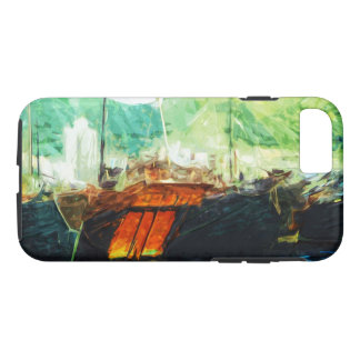 香港港の抽象芸術の印象主義のボート iPhone 8/7ケース