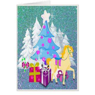 馬およびギフトの模造のなグリッターのクリスマスツリー カード