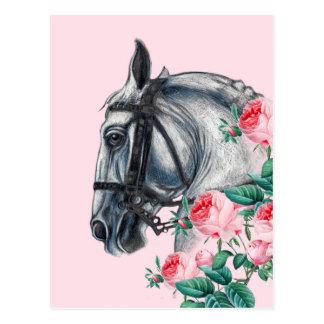 馬およびバラ ポストカード