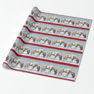 馬および女の子の冬のクリスマスのギフトの紙 ラッピングペーパー