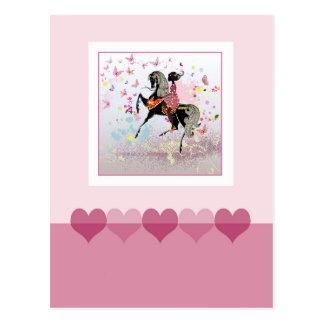 馬および女の子 ポストカード
