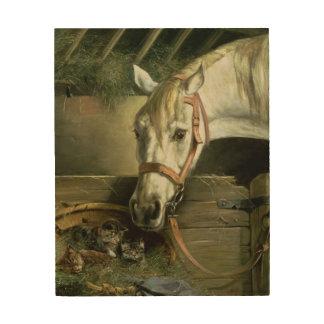 馬および子ネコ1890年 ウッドウォールアート