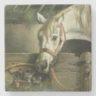 馬および子ネコ1890年 ストーンコースター