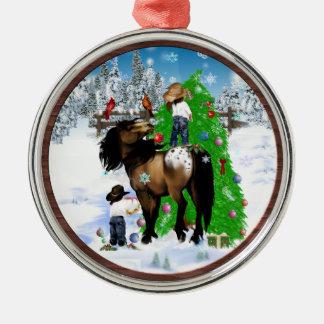 馬および子供のクリスマスのオーナメント メタルオーナメント