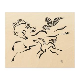馬および子馬 ウッドウォールアート