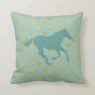 馬および星-空色および金 クッション