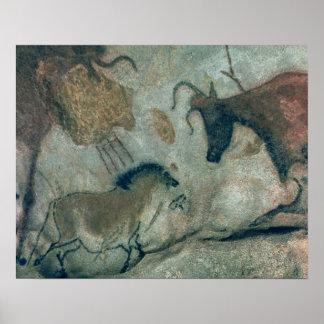 馬および牛、c.17000 Bを示す絵画を揺すって下さい ポスター