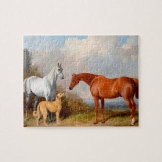 馬および犬の芸術8x10の写真はギフト用の箱によって困惑します ジグソーパズル