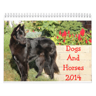 馬および犬2014のカレンダー カレンダー