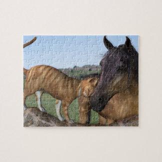 馬および猫のパズル- Thyいななきのどを鳴らす音を愛して下さい ジグソーパズル