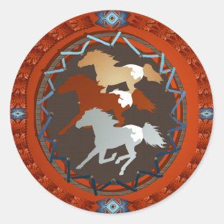 馬および盾ステッカー ラウンドシール