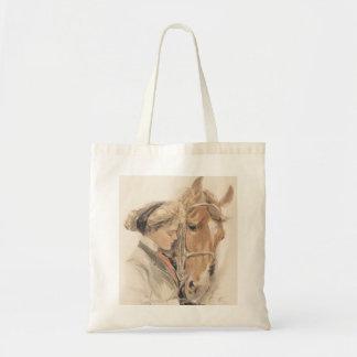 馬および美しいVintage女性トートバック トートバッグ