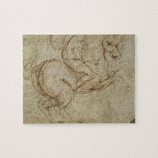 馬および騎士(紙でペンとインク) ジグソーパズル