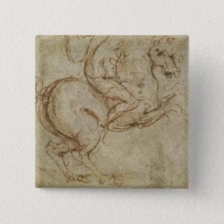 馬および騎士(紙でペンとインク) 5.1CM 正方形バッジ