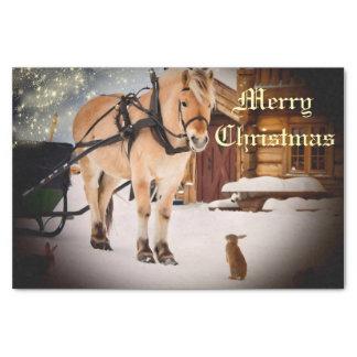 馬が付いている農場の星明かりのクリスマスの夜 薄葉紙