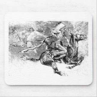 馬で満たしているインディアンの酋長: アメリカの野生の西 マウスパッド