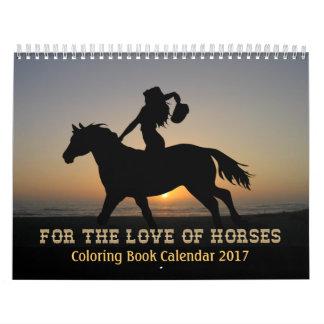 馬のぬり絵帳のカレンダー2017年 カレンダー