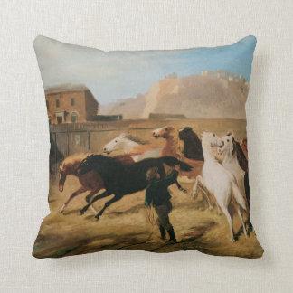 馬のアメリカ人のMoJoの枕の古い西の畜舎 クッション