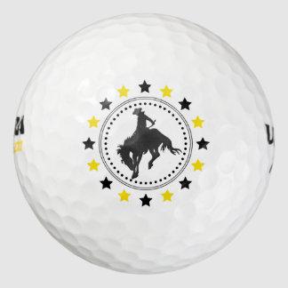 馬のカウボーイを強く反対する黒い金ゴールド ゴルフボール