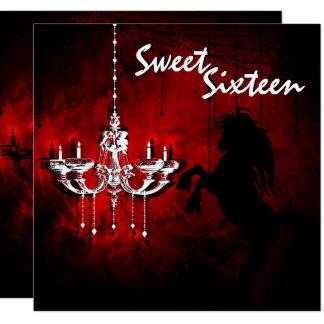 馬のシャンデリアのSweet sixteenのハッピーバースデーカード 13.3 スクエアインビテーションカード