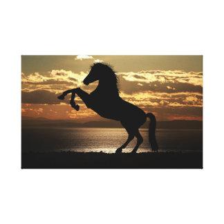 馬のシルエット|の動物の写真撮影|の日の出 キャンバスプリント