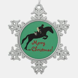 馬のジャンパーのクリスマス スノーフレークピューターオーナメント