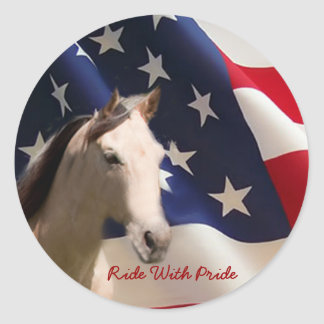 馬のステッカーの米国旗 ラウンドシール