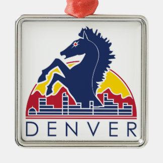 馬のデンバーの青いロゴ メタルオーナメント