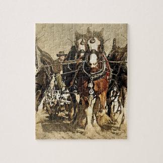 馬のパズルを持つヴィンテージの農家 ジグソーパズル