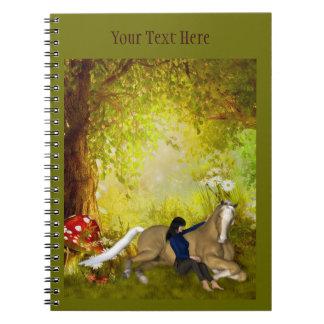 馬のファンタジーの芸術のノートを持つ女の子 ノートブック