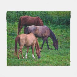 馬のフリースブランケットを牧草を食べること フリースブランケット