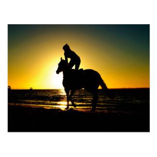 馬のライダーのビーチの美しい景色 ポストカード