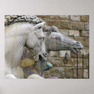 馬のルネサンスの乗馬の彫像 ポスター