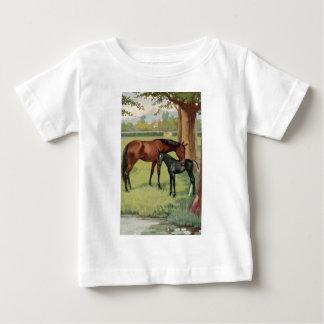 馬のロバの子馬の乗馬のヴィンテージのイメージ ベビーTシャツ