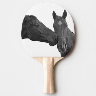 馬の乗馬動物の白黒写真 卓球ラケット