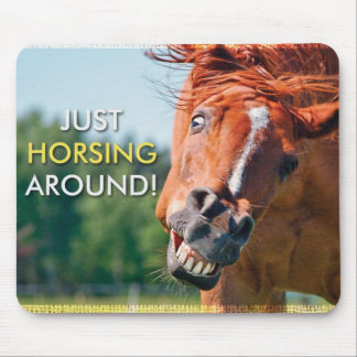 馬の写真のまわりのちょうどHorsing マウスパッド